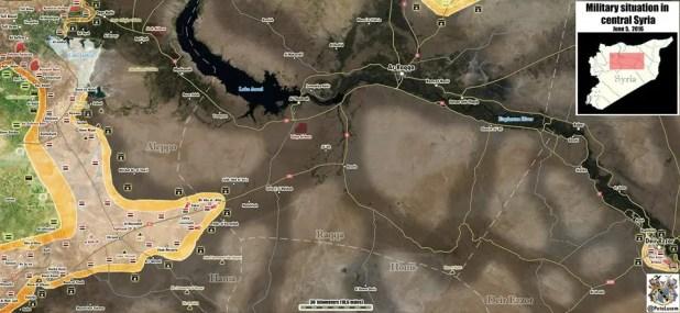 Avanzata siriana verso Tabqa e Raqqa al 6 giugno 2016 - fonte @petolucem