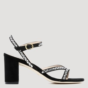Stuart Weitzman - Black Sandals With Crystals N - (n) Shoes It@36
