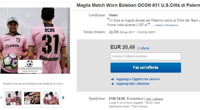 Maglia rosanero Force India su Ebay