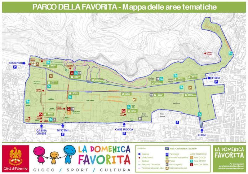 Parco della Favorita, Città di Palermo - Mappa delle aree tematiche