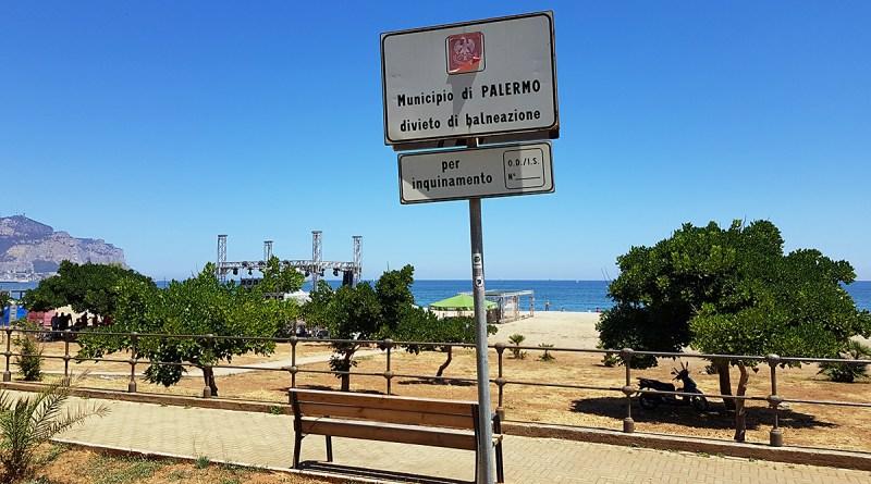 Divieto di balneazione a Romagnolo, Costa Sud - Palermo