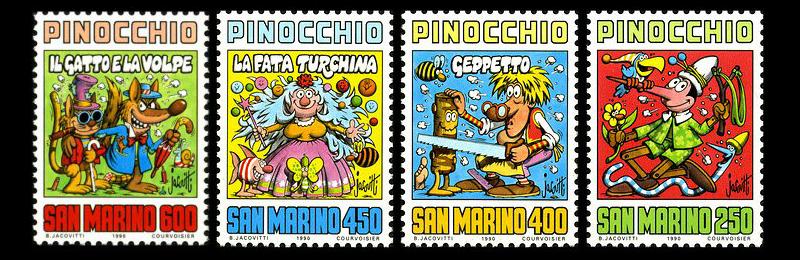Francobolli di San Marino dedicati alle avventure di Pinocchio