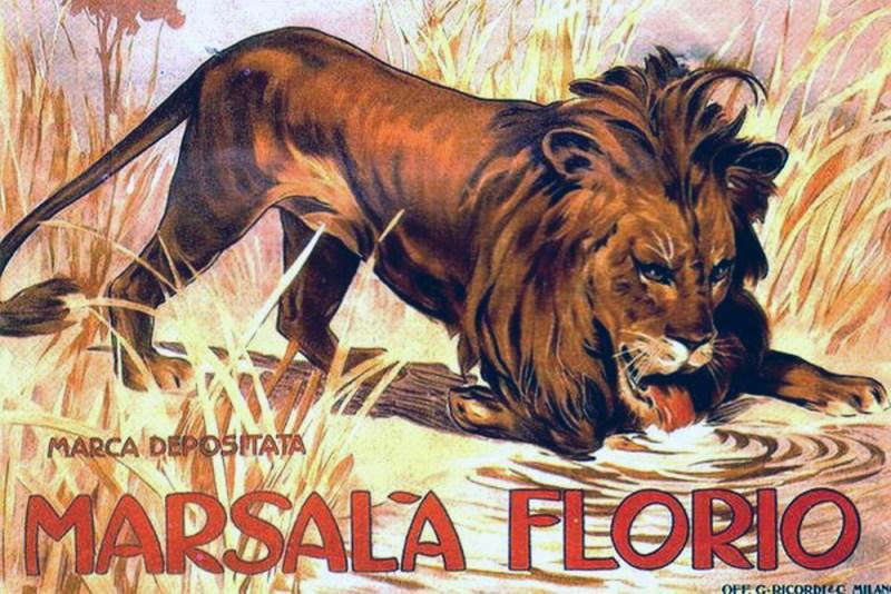 Poster del Marsala Florio con l'immagine del leone che beve, come nella statua davanti la tomba di Vincenzo Florio