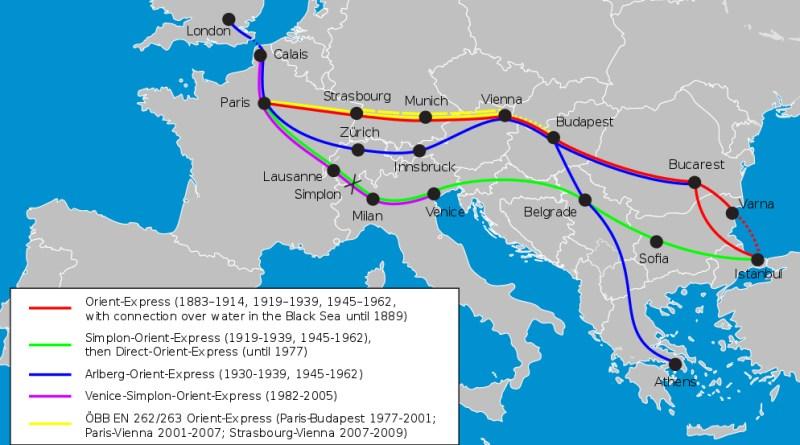 I percorsi ferroviari dell'Orient Express dal 1883