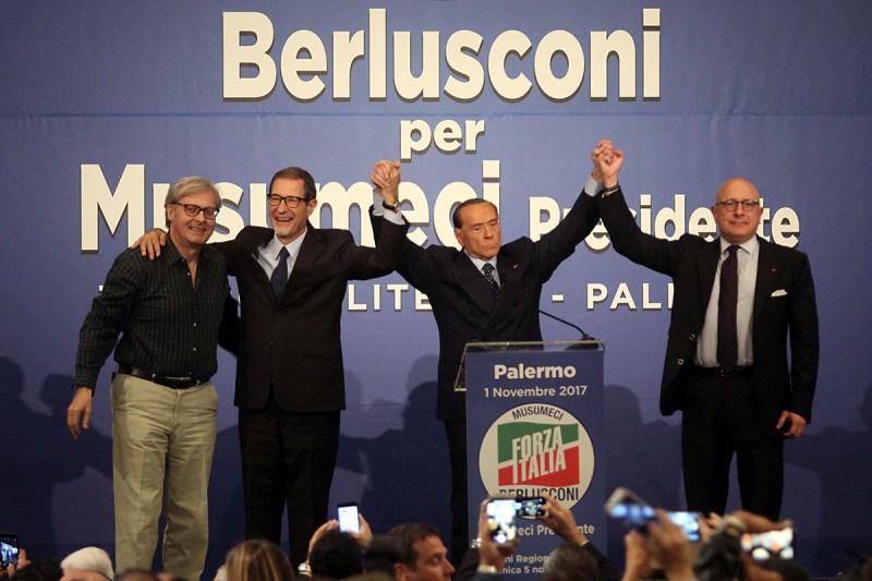 Berlusconi a Palermo, con Musumeci, Armao e Sgarbi