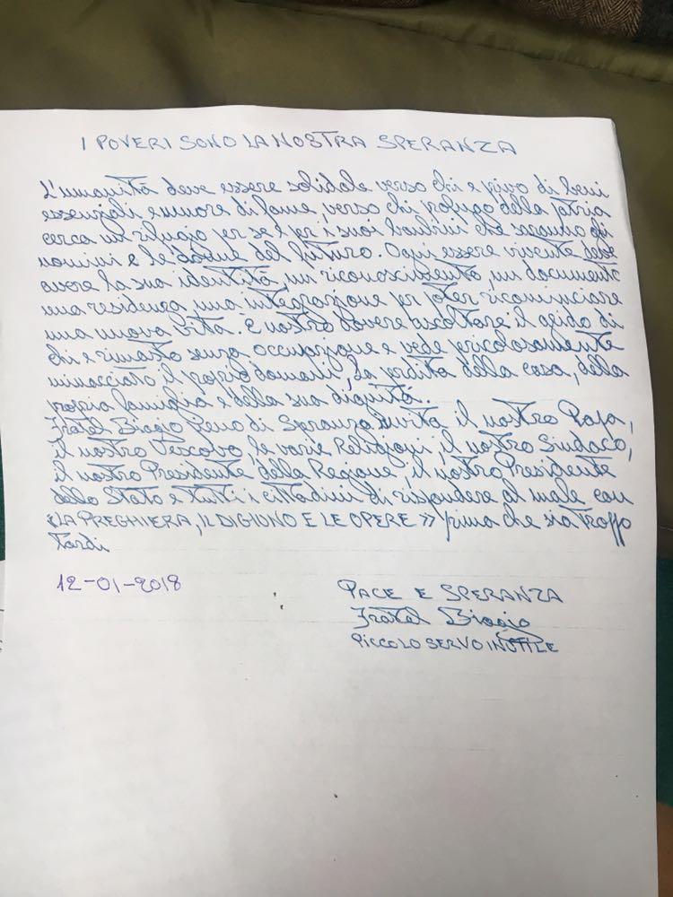 """Biagio Conte, si appella a Papa Francesco per risolvere il problema dell'emergenza abitativa a Palermo: """"L'umanità deve essere solidale"""""""