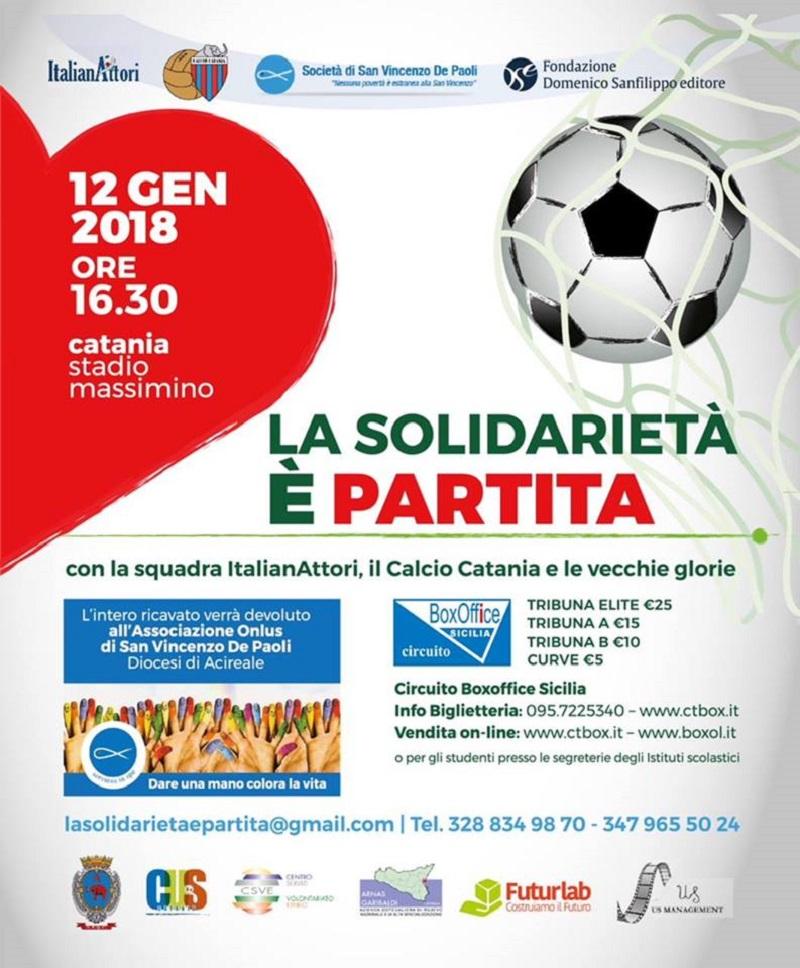 La solidarietà è partita: nazionale ItalianAttori, Calcio Catania e vecchie glorie in campo per l'Associazione onlusSan Vincenzo de' Paoli