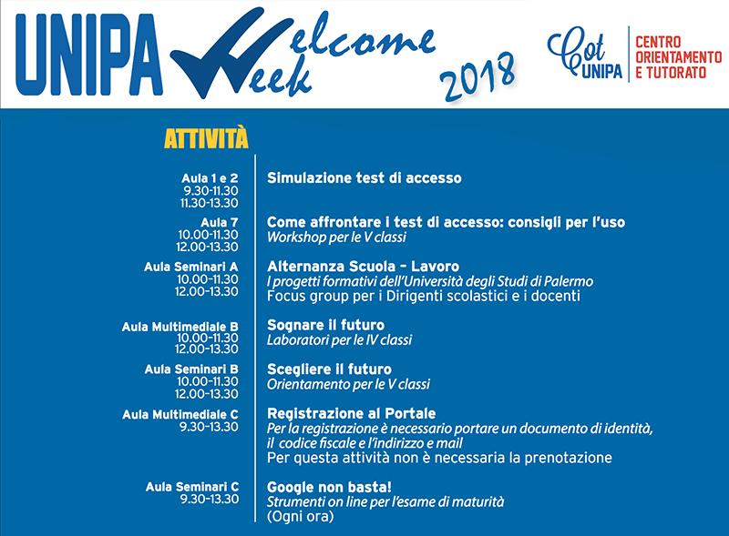 programma Unipa Welcome Week 2018