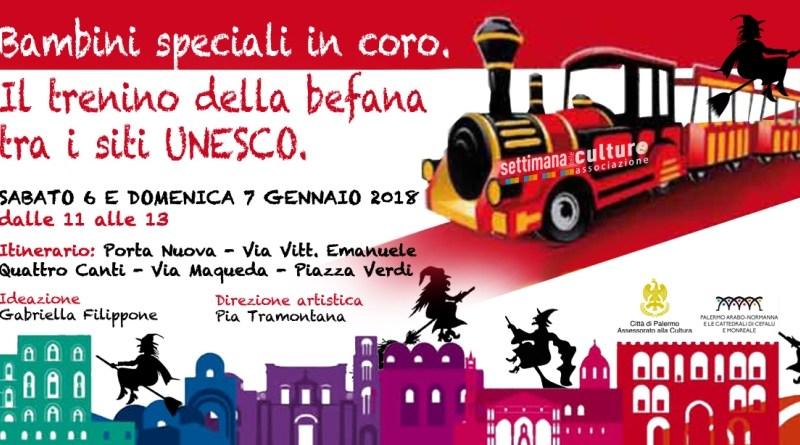 Palermo, bambini speciali in coro sul trenino della Befana tra i siti Unesco