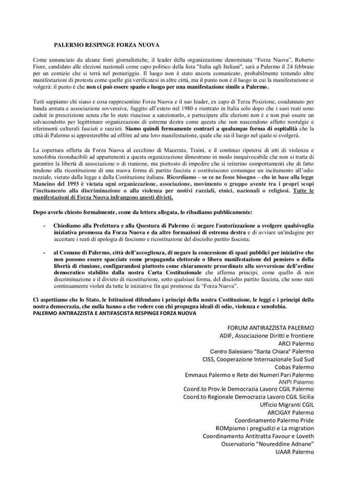 Lettera Forum Antirazzista Comizio Forza Nuova a Palermo