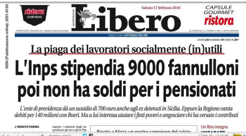 """Pioggia di critiche su Libero: """"Siciliani fannulloni? Pagina vergognosa"""""""