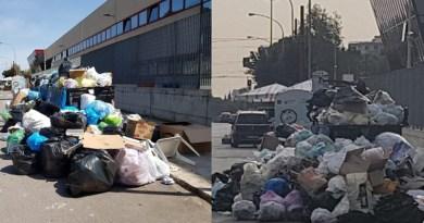 In via Castellana, a pochi passi dal quartiere Borgo Nuovo di Palermo, davanti gli uffici Amat del tram,l'immondizia non diminuisce ma aumenta