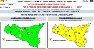 La Protezione Civile Regionale ha diramato pochi minuti fa un allerta gialla per condizioni meteo avverse in tutta la Sicilia