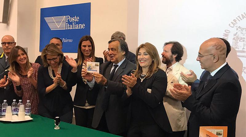 Orlando alla presentazione del francobollo di Palermo capitale italiana della cultura 2018