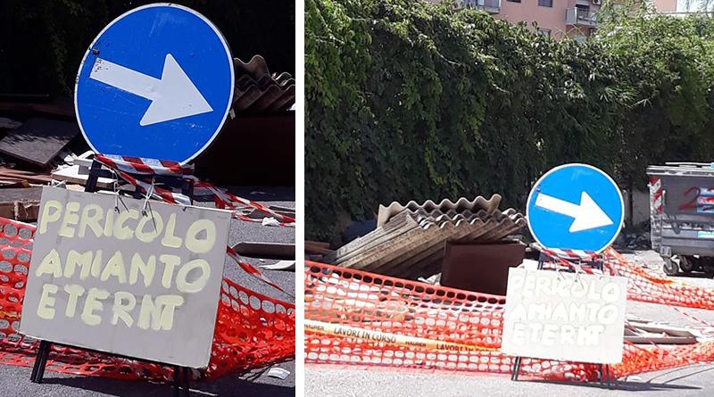 Amianto per strada in zona via Eugenio l'Emiro alla Zisa