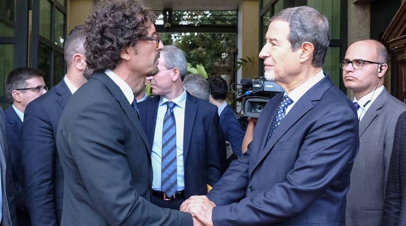 Commiato del ministro alle infrastrutture Danilo Toninelli dal presidente della Regione Sicilia Nello Musumeci