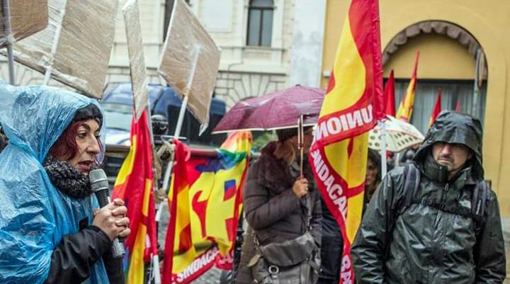 Manifestazione Usb coop sociali terzo settore Roma