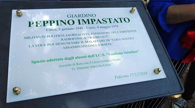 targa giardino Peppino Impastato quartiere cep San Giovanni Apostolo Palermo