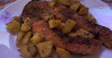 Salmone gratinato con patate al forno