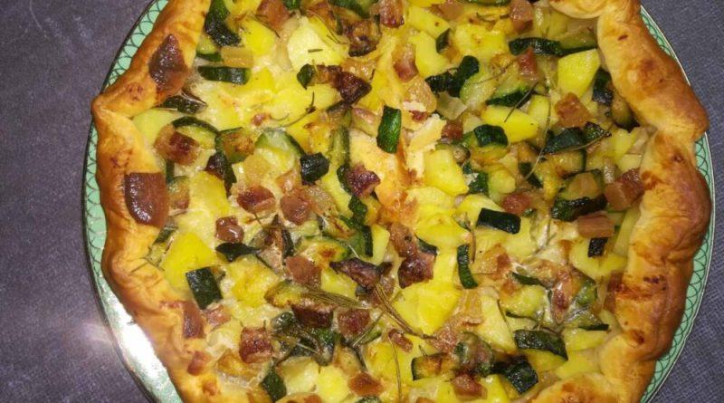 torta salata con ppancetta, patate e zucchine