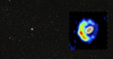 La nova RS Ophiuci, come appare alla vista e nelle onde radio
