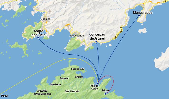 Mapa rotas maritimas para a Abraão e Palmas de Angra dos Reis, Mangaratiba e Conceição de Jacareí.