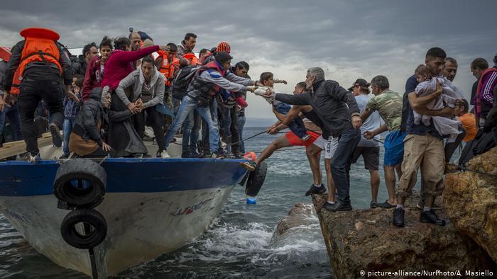 Lesbos Ankunft Flüchtlingsboot