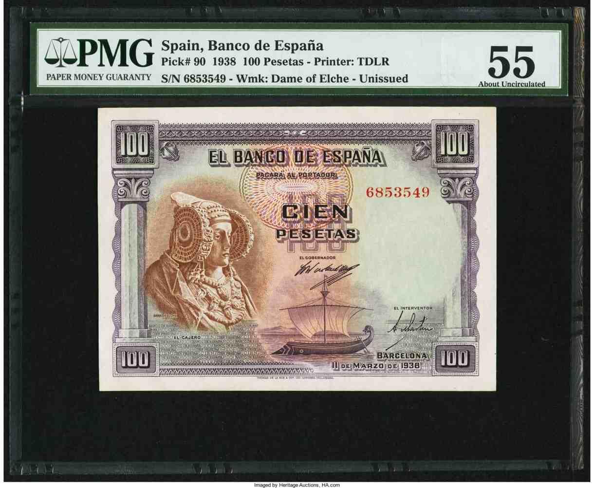 100 pesetas de 1938. La codiciada Dama de Elche.