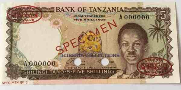Buy Tanzania 5 Shillingi 1966