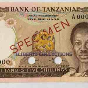 Tanzania 5 Shillingi 1966 Specimen