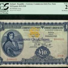 Ireland 10 Pounds 1928. PCGS 20