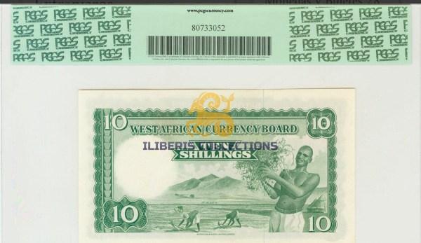 British West Africa 10 Shillings 1955 back