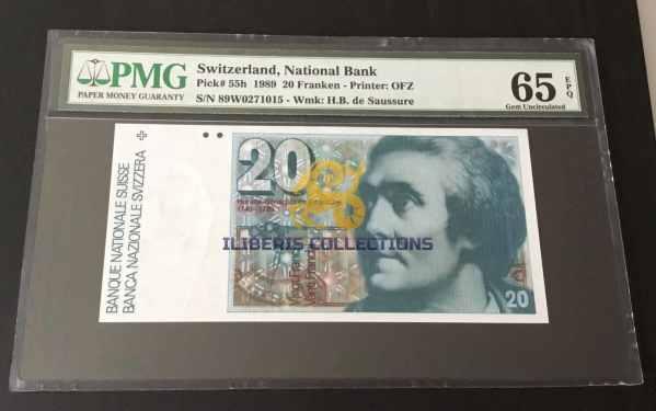 Switzerland 20 Franken 1989