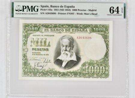 Spain 1000 Pesetas 1951. PMG 64 EPQ.