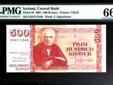 Iceland 500 Kronur 2001 PMG 66 EPQ