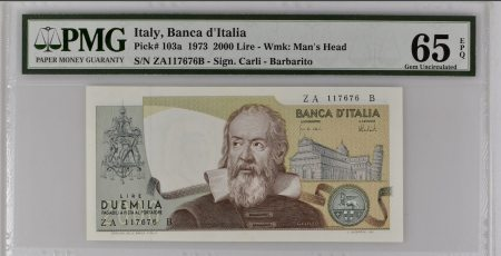 Italy 2000 Lire 1973. PMG 65 EPQ.