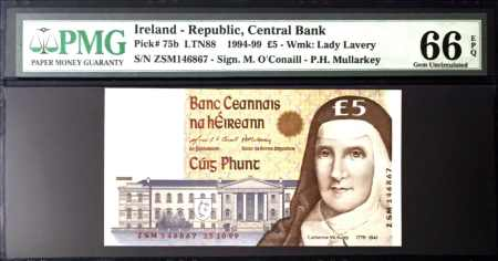 Ireland 5 Pounds 1999 PMG 65 EPQ