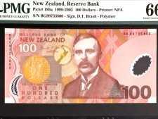 New Zealand 100 Dollars 1999. PMG 66 EPQ.