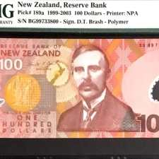 New Zealand 100 Dollars 1999. PMG 66 EPQ.