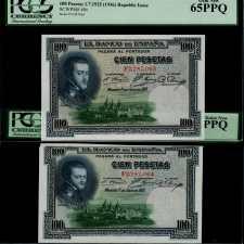 Spain 100 Pesetas 1925. Pareja correlativa.