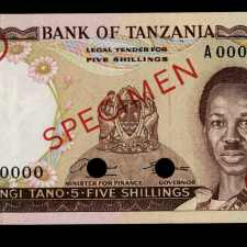 Buy Tanzania 5 Shillingi 1966 Specimen. Uncirculated