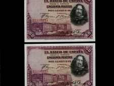 Spain 50 Pesetas 1928. Consecutive Pair. Uncirculated.
