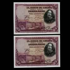 Spain 50 Pesetas 1928. Consecutive Pair. Uncirculated.