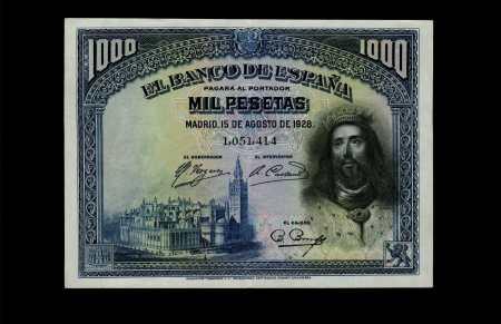 Spain 1000 Pesetas 1928. EBC+.