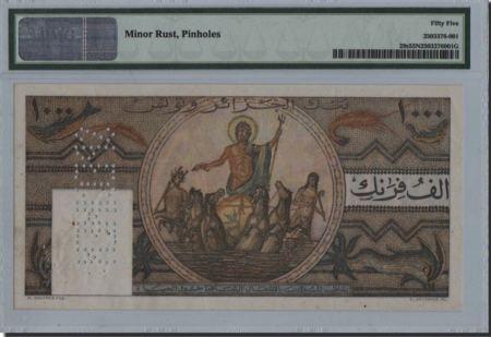 Túnez 1000 Francs 1950 Specimen. PMG 55 Net.