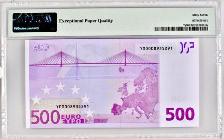 Greece 500 euros 2002 (Duisemberg). PMG 67 EPQ.