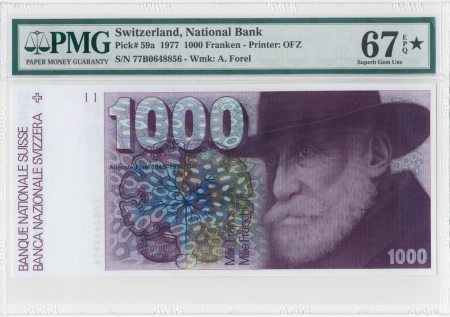 Switzerland 1000 Franken 1977. PMG 67 EPQ.