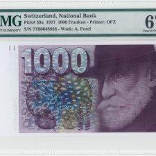 Switzerland 1000 Franken 1977. PMG 67 EPQ.