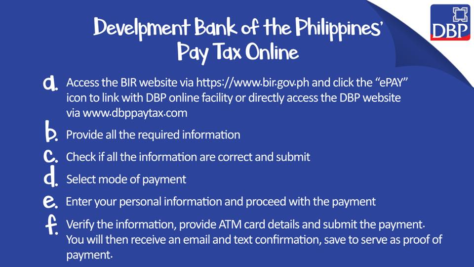 how to pay bir taxes online - dbp