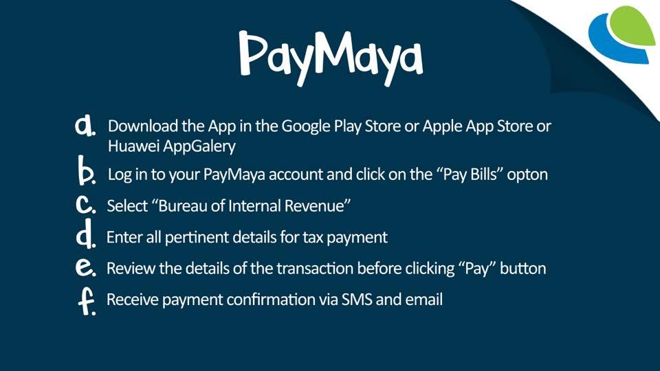 how to pay bir taxes online - paymaya